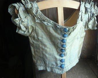 antique plaid silk child's bodice dress