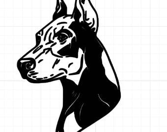 Doberman Head Vinyl Decal