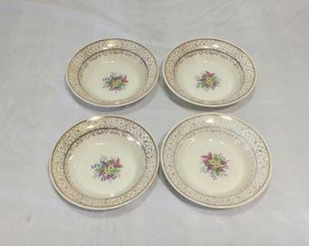 Royal China Royal Stratton 22K Gold Warranted Set 4 Dessert Bowls Floral