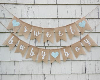 Sweet Baby Boy Banner, Rustic Baby Shower Decorations, Baby Boy Banner, Burlap  Baby
