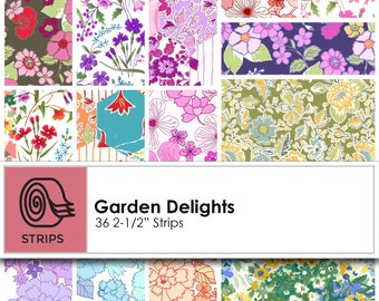 Strips - Garden Delights (36) by In The Beginning Cotton Fabric Jelly Roll