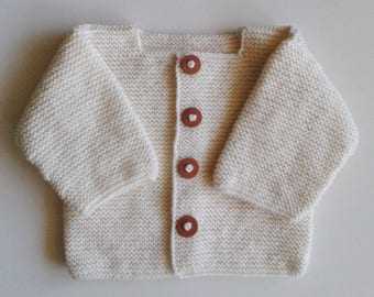 Vest wool newborn to 12 months baby knitted ecru with Brown polymer clay buttons