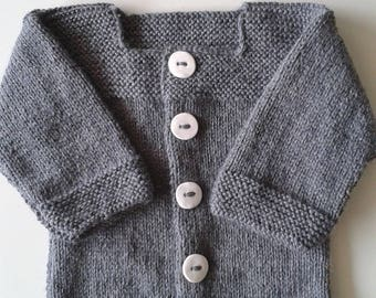 Jacket vest woolen baby intoxicates(tints) hand-made knitting(sweater) with buttons fimo whites / baby cloth baby / life jacket baby /