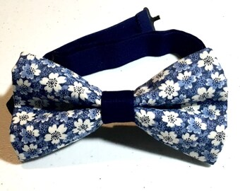 flowered bow tie white blue men teens pre tied cotton bow ties for men