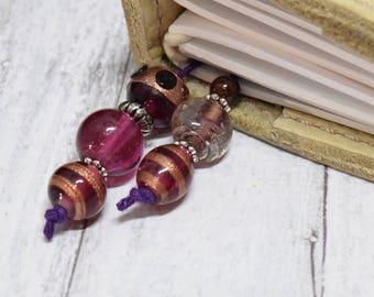 Purple Journal Bookmark, Purple Planner Accessories, Purple Bookmark, Journal Bookmark, Beaded Book Mark, TN, Journal, Beaded Bookmark, TN