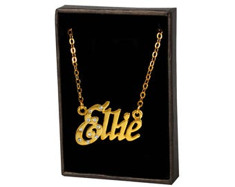 Name Necklace Ellie - White Gold Plated 18ct Personalised Necklace with Czech Crystals
