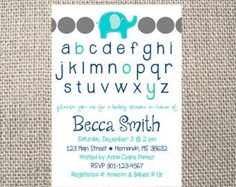 PRINTED or DIGITAL   Elephant Alphabet   Baby Shower Invitation   Invites   Blue   Grey   ABC   Custom Invitations .82 each