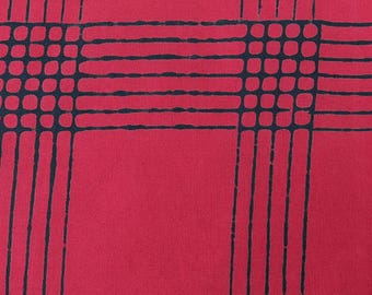 1/2 Yard Chroma Handcrafted Batik Plaid in Cherry from Andover designed by Alison Glass 8132-E2