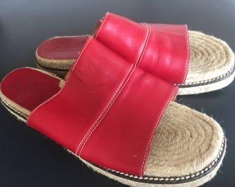 Coach red leather slide espadrilles sandals size 10