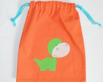 Orange dinosaur - cotton storage bag