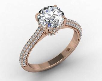 Moissanite Engagement Ring 7.5mm Round Forever One Moissanite Ring Natural Diamonds Hidden Halo Ring 18k Rose gold Pristine Custom Rings