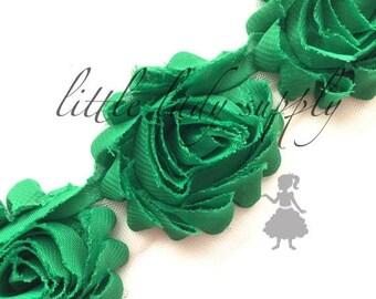 SHOP CLOSING Emerald Green Shabby Flower Trim, wholesale, chiffon flowers, shabby chiffon frayed flowers, headbands, embellishment, chiffon