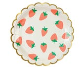 Small Strawberry Paper Plates (8), Strawberry Party Plate, Dessert Plate, Fruit Party Decor, Strawberry Shortcake Party Decorations