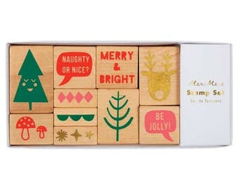 Christmas Stamp Set, Meri Meri Rubber Stamps, Holiday Stamps, Christmas Phrases, DIY Xmas, Naughty or Nice, 10 stamps & 4 Inks, Gift for Her