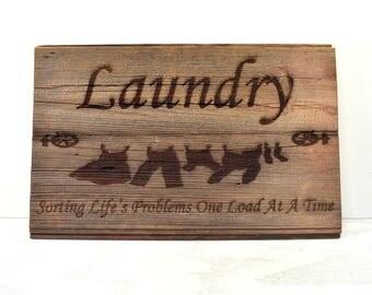 Laundry Clothesline Barnwood Sign