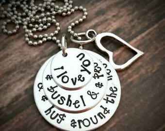 Personalized Hand Stamped 'I love you a bushel & a peck and a hug around the neck' with heart charm