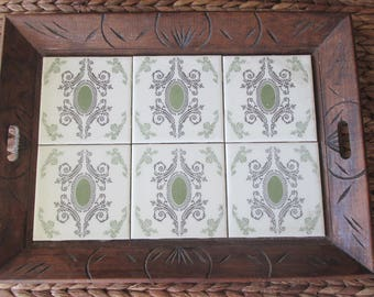 Vintage Carved Wood Mexican Tile Tray, Green White Bar Drinks Holder