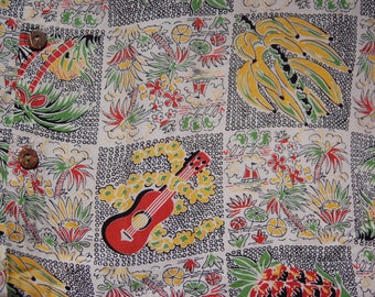 Vintage Reminiscence Tropical Print circa the 80's