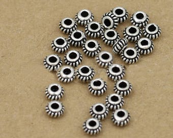 Five (5) THAI .925 Sterling Silver 5mm Donut Spacer Beads #220