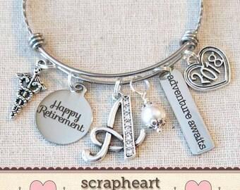 NURSE RETIREMENT Gift Bangle Bracelet, Personalized 2018 Adventure Awaits Retirement Bracelet, Happy Retirement Gift for Nurse Doctor - 00