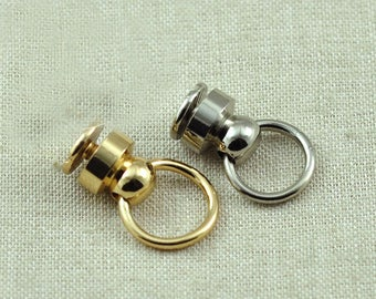 Chain loop Chain attachment screws pull ring silver. 10 sets.