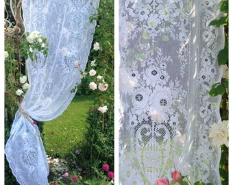 Beautiful vintage white cotton machine lace floral garlands long chateau curtain~ gorgeous display