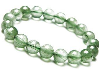 9 mm Green Rutile Quartz, Green Rutilated Quartz Bracelet, Rutilated Quartz Bracelet, Quartz Jewelry, Green Quartz Bracelet, Rutile Quartz