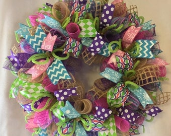Sale Spring wreath/ summer wreath/ summer burlap wreath/ spring burlap wreath/ burlap wreaths spring door, wreaths, spring, wreath, summer d
