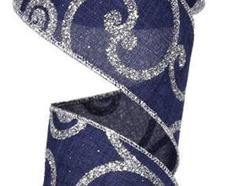 """2.5""""x10yds navy and silver ribbon, navy blue and silver scroll ribbon, scroll ribbon, wired navy ribbon, wired navy blue scroll ribbon"""