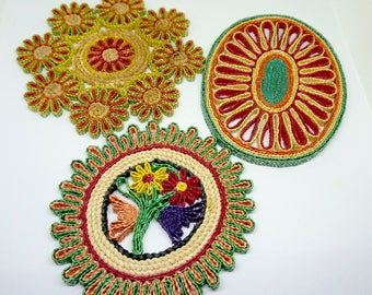 "Straw Trivets; Coasters; Hot Pot; Set of Three; Approx. 6""x8""; 8""x8""; 7""x7""; Colorful Handicraft !!!"