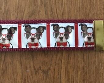 Boston Terrier Key Chain Wristlet Zipper Pull