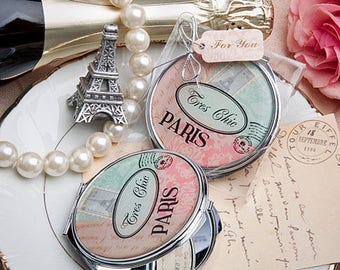 Pretty Paris Themed Mirror Compact - Wedding Bridal Shower Party Favor 20-72 Qty  FC5949