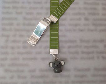 Koala bookmark, cute bookmark with clip - Attach to book cover then mark the page with the ribbon. Never lose your cute bookmark!