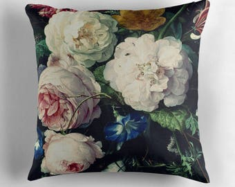 Floral Pillow, Vintage Flowers, Flower Pillow Cover, Rose Throw Pillows, Vintage Roses, Shabby Chic Decor, Vintage Cushion, Vintage Decor