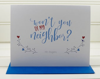 Mister Rogers Card, Mr. Rogers, Won't You Be My Neighbor Card, Moving Card, Friendship, Just Because, Encouragement Card, Thinking of You