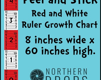 Peel and Stick Growth Ruler Chart - Red and White Giant growth ruler - Printed Life size Ruler - 8 inches x 60 inches
