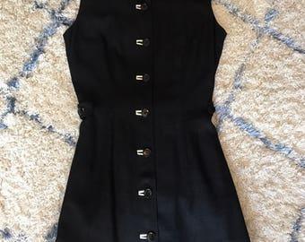 1960's Mod Mini Black and White Linen Dress
