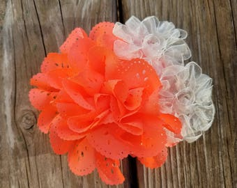 Tangerine HairClip, Hair Accessory, Girls Accessory, Photo Prop, Spring Flower, Baby Girl Hairclip, Flower Headband, Girls Flower Clip