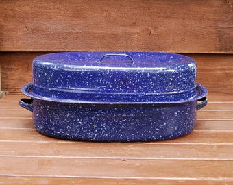 Enamel Roaster Pot, Vintage Enamelware Roasting Pan, Navy Blue Speckled Roaster, Turkey Roaster