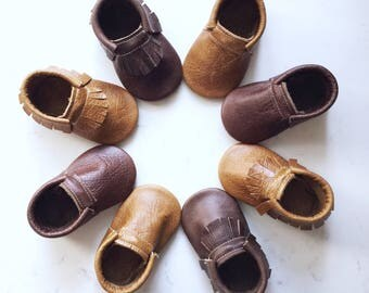 Distressed Leather Baby Moccasins