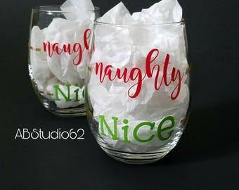 Christmas Wine Glass, Naughty Nice Wine Glass, Christmas Wine Glasses, Holiday Wine Glass, Funny Holiday Gifts, Stocking Stuffers, Wine gift