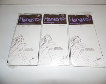 Vintage Hanes Ultra Sheer Kneehighs Nylon Sandalfoot Barely Black Lot of 3 Packages