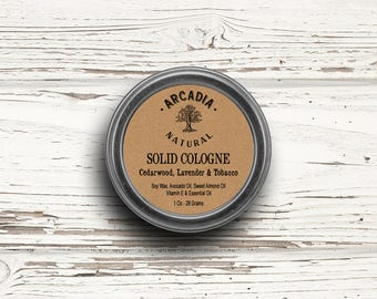 Cedarwood, Lavender & Tobacco Solid Cologne in a Travel Tin, Vegan Cologne, Alcohol Free Cologne