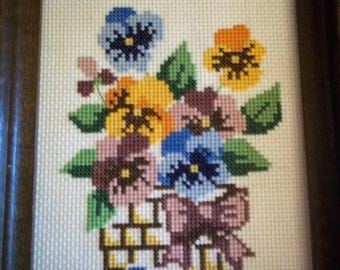 Finished Cross Stitch of a Bowed Basket of Pansies - Framed