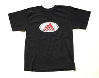 Vintage ADIDAS Trefoil 3 stripe t shirt deadstock 90s adidas tee 100% cotton priva sport NOS size xl