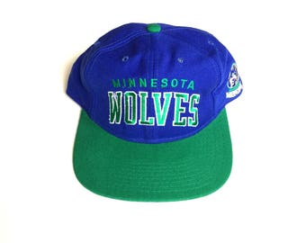 90s STARTER minnesota timberwolves arch nba basketball Snapback hat blazers Snap back Strapback hat One Size Adult Unisex 100% WOOL