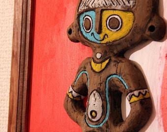 tiki wall decor painting art mid century modern hand made
