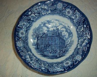 """Vintage Staffordshire """"Liberty Blue"""" English Ironstone Deep Vegetable Bowl Blue and White Transferware Collectibles"""