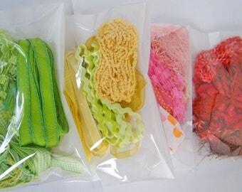Ribbon Scrap Bag 5 large pieces Many Colors! Destash