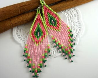 Boho earrings Chandelier earrings Bohemian earrings Long earrings Dangle earrings Statement earrings Pink earrings Greenery modern earrings